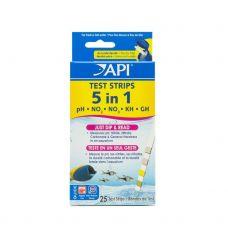 Тест API 5 in 1 Aquarium Test Strips - экспресс тесты для аквариумной воды